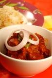 Curry indio del cordero con arroz Imagen de archivo libre de regalías