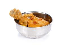 Curry indio del pollo aislado en el fondo blanco imágenes de archivo libres de regalías