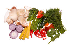 Curry ingredients Herbs Spice and Vegetables. Curry ingredients Fresh herbs and vegetables, peppers, onions, mushrooms,  spices, beans, sweat corn Stock Images