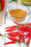 Curry ingredients on white wooden board Royalty Free Stock Photography