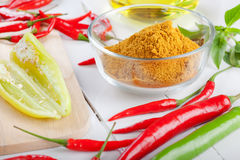 Curry ingredients on white wooden board Royalty Free Stock Photos
