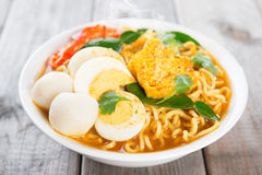 Curry instant noodles Stock Photo