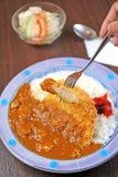 Curry japonés del cerdo de la fritada de la comida Fotografía de archivo