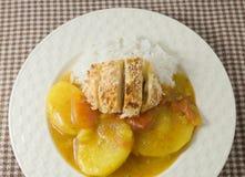 Curry japonés delicioso y Tonkatsu con arroz cocido al vapor Fotografía de archivo