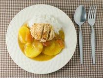 Curry japonés y Tonkatsu con arroz blanco cocido al vapor Imagen de archivo libre de regalías