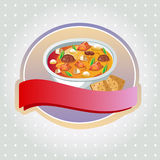 Curry label. One full bowl of curry or soup. EPS 10 file, with no gradient meshes,blends,opacity, stroke path,brushes.Also all elements grouped and layered stock illustration