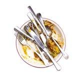Curry linke Überschüsse in einer Schüssel mit Messern, Löffeln und Gabeln Stockfotografie