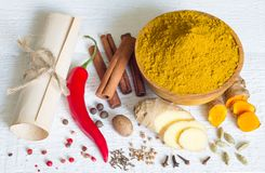 Curry masala indian spice powder ingredients old recipe on white boards Stock Images