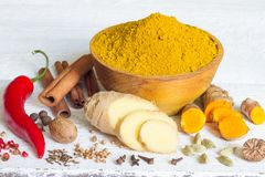 Curry masala indian spice powder ingredients old recipe on white boards Royalty Free Stock Image