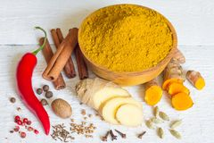 Curry masala indian spice powder ingredients old recipe on white boards Stock Image