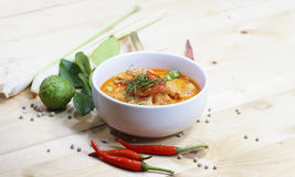 Curry med grisköttdeg i kokosnöt mjölkar Arkivbild