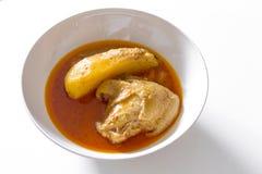 Curry musulmano del pollo e della patata di stile o curry di mussaman del pollo fotografia stock