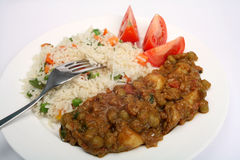 Curry muttar vegetariano di aloo Fotografia Stock