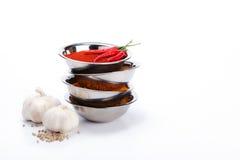 Curry nella pila della ciotola con il peperoncino rosso, aglio, ingredienti del pepe Fotografia Stock Libera da Diritti