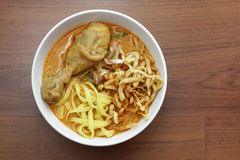 Curry noodle with chicken Royalty Free Stock Images