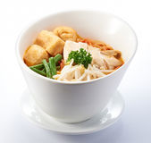 Curry Noodles with Shredded Chicken Stock Images