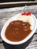 Curry och ris, Japan, Okinawa, bänk, strandmat som är läcker Fotografering för Bildbyråer