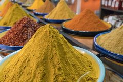 Curry And Others Spices. In a plate Royalty Free Stock Photos