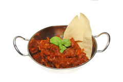 Curry and pappadum Royalty Free Stock Photography
