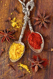 Curry, paprika, star anise and cloves. With spoons on wooden background Stock Photos
