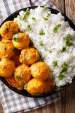 Curry piccante appena preparato della patata o wi caldi e piccanti di aloo di Dum Fotografia Stock
