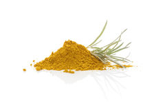 Curry plant and curry spice on white background. Stock Photos