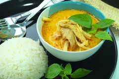Curry pork roasted asparagus Royalty Free Stock Photo