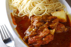 Curry pork spaghetti Royalty Free Stock Photography