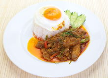 Curry pork and white rice Stock Photo