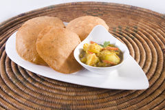 Curry Potato or Potato Masala with Puri Royalty Free Stock Photo