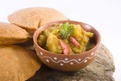 Curry Potato or Potato Masala with Puri Stock Image