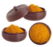 Curry powder on bowl Stock Images