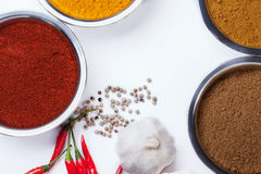 Curry powder with chili ,garlic,pepper ingredients Stock Images