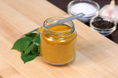 Curry powder on fine wood cutting board Stock Images