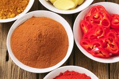Curry powder, paprika,  ground cinnamon, sliced ginger root and Stock Images