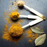 Curry powder in spoons on dark background. Royalty Free Stock Images