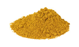 Curry powder on white background Royalty Free Stock Photos