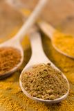 Curry powder on wooden spoons Royalty Free Stock Photography