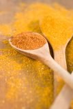 Curry powder on wooden spoons Royalty Free Stock Photos
