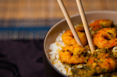 Curry Prawns with rice 03 Stock Photo