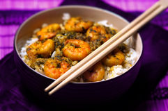 Curry Prawns with rice - Caribbean Tasty food 02 Royalty Free Stock Photos