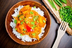 Curry with prawns, vegetables and chives Stock Photography