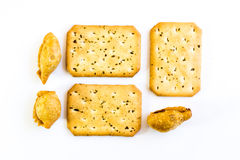 Curry puff and bread Stock Photo