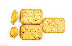 Curry puff and bread. On white background Stock Photo