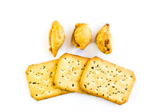 Curry puff and bread. On white background Royalty Free Stock Image