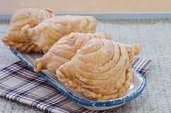 Curry puff in ceramic dish Stock Photo