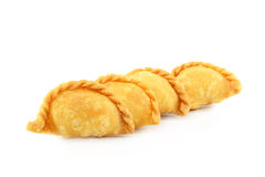 Curry Puff pastry on white background. Stock Photos