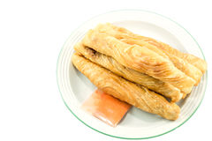Curry puff stick on white background Royalty Free Stock Photos