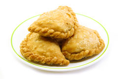 Curry puffs 3 pieces on plate Stock Image
