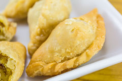 Curry puffs on white plate Royalty Free Stock Photo